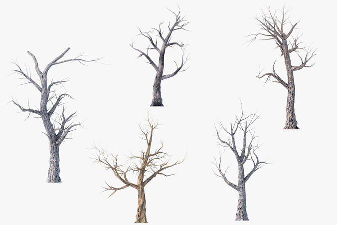 low poly dead tree pack 3d model low-poly obj mtl 3ds fbx c4d 1