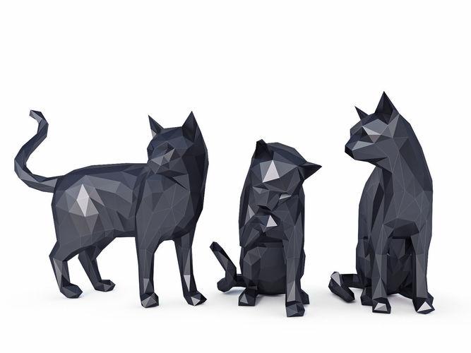 cats low poly 3d model low-poly max obj mtl 3ds fbx stl 1
