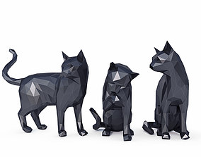 Cats Low Poly 3D asset