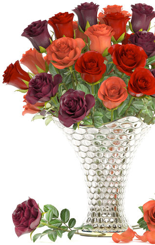Collection Of Roses In A Vase 3d Model Cgtrader