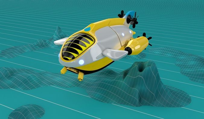 submarine balloon ship 3d model obj mtl fbx c4d stl 1