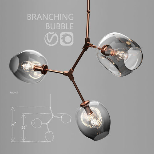 branching bubble 3 lamps by lindsey adelman dark copper 3d model max obj mtl fbx 1