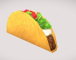 3D asset Low poly Taco