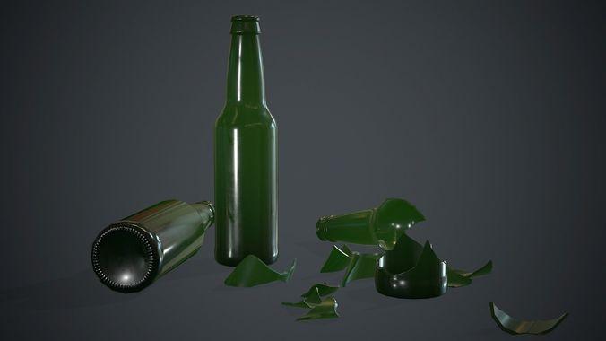 Green Glass Broken Bottles PBR Game Ready