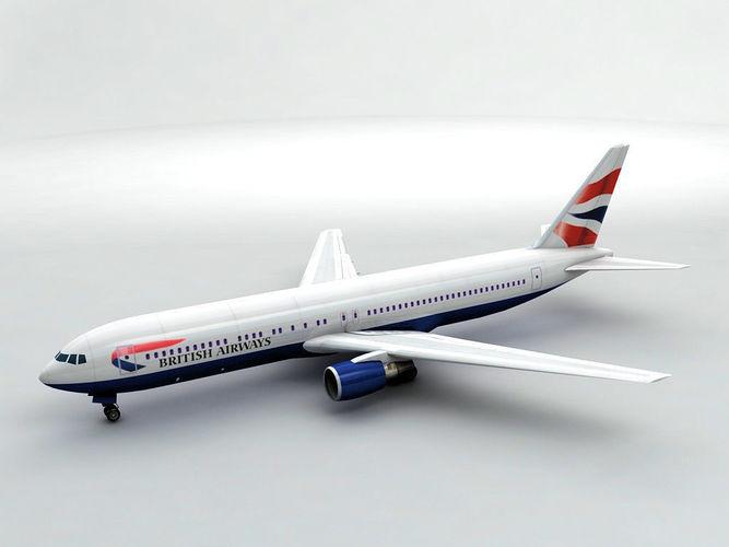 boeing 767-300 airliner - british airways 3d model max obj 3ds dxf stl wrl wrz 1