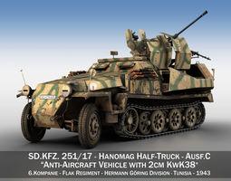3D model SDKFZ 251 Ausf C - Hanomag AA- vehicle - 8