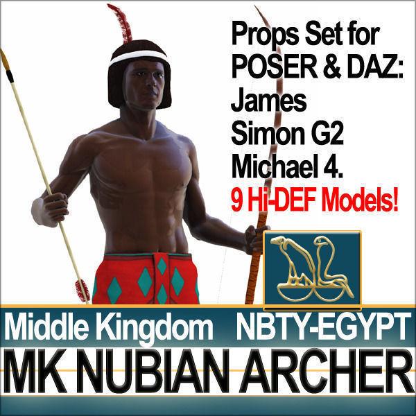 Ancient Egypt Archer Props Nubian Poser Daz