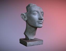 3D Photorealistic Crown less Head of queen Nefertiti