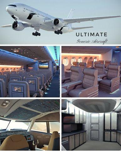 the ultimate generic aircraft - 3 full interior cabins -cockpit 3d model max obj 3ds fbx c4d lwo lw lws 1