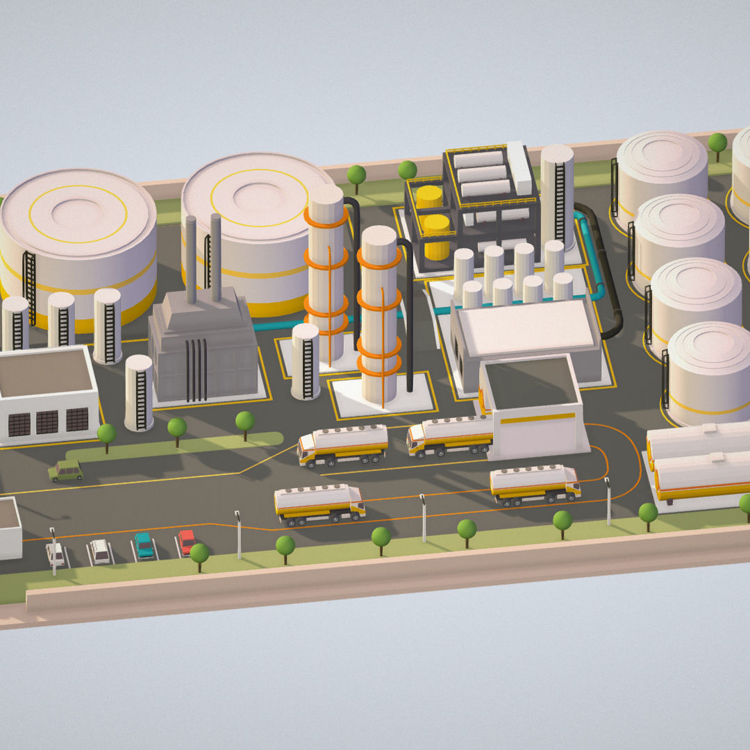 Isometric Complex Crude Oil Processing Plant