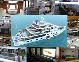3D animated Mega Yatch With Interior
