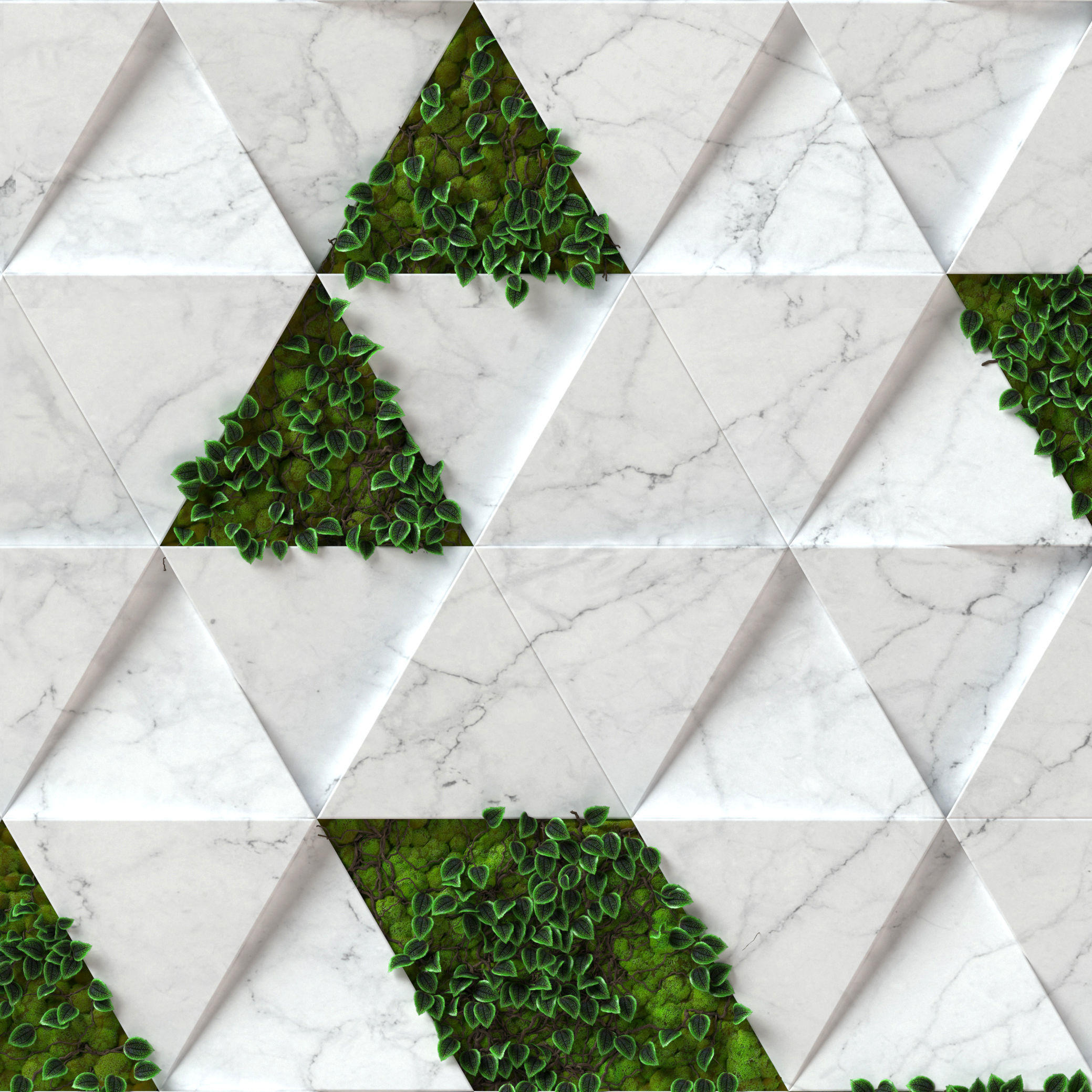 Stone Moss - Seamless wall panel texture 3D | CGTrader