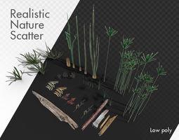 Wetlands Nature Scatter elements plants grass 3D model 1