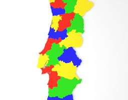 3D asset Map of Portugal