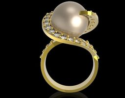 3D printable model 400 Pear and Diamond Ring for women