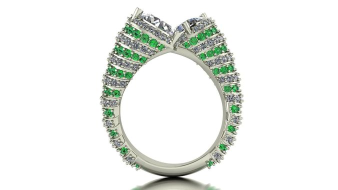 two gem ring 3d model stl 3dm 1
