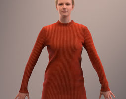 Rigged girl in casual attire 3D model