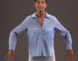 3D model Rigged senior lady in casual clothing