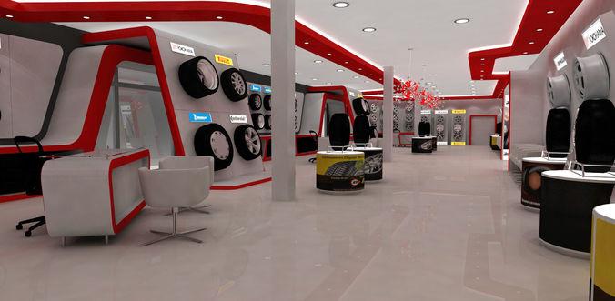 automotive tyre showroom concept 3d model max 1