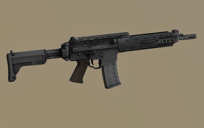 kalashnikov sr1 saiga mk 107 balanced action rifle pbr 3d model low-poly obj mtl fbx stl blend dae 1