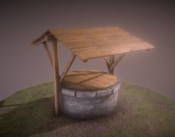 Stone Well Low Poly PBR 3D asset