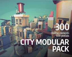 rigged Cartoon Low Poly Modular City Pack 3D model