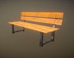 3D asset Game Ready Park Bench Low Poly