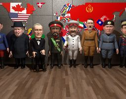WW2 stylized leaders pack 3D asset animated