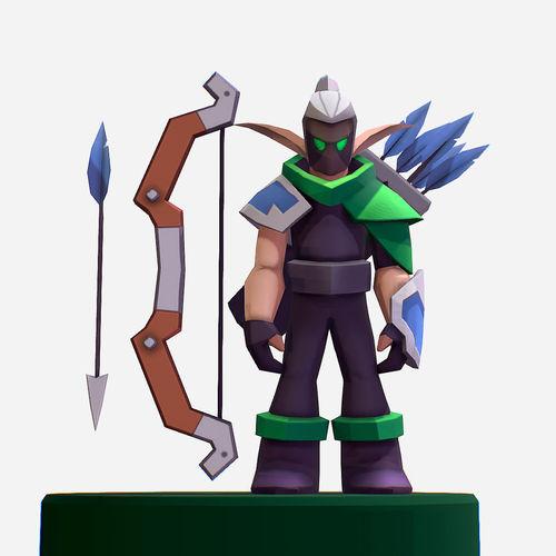 handpaint cartoon archer warrior mmo rpg character 3d model max obj mtl fbx ma mb tga 1