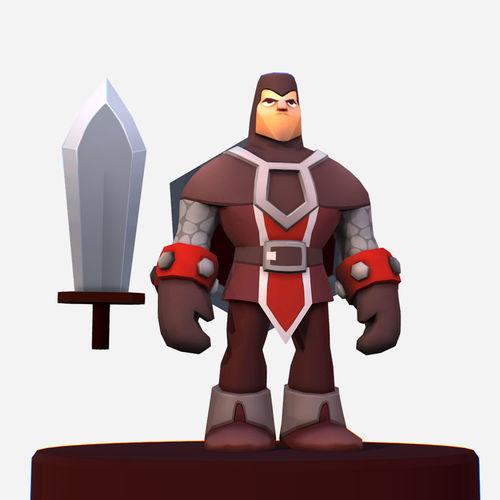 handpaint cartoon knight mmo character 3d model low-poly max obj mtl fbx ma mb tga 1