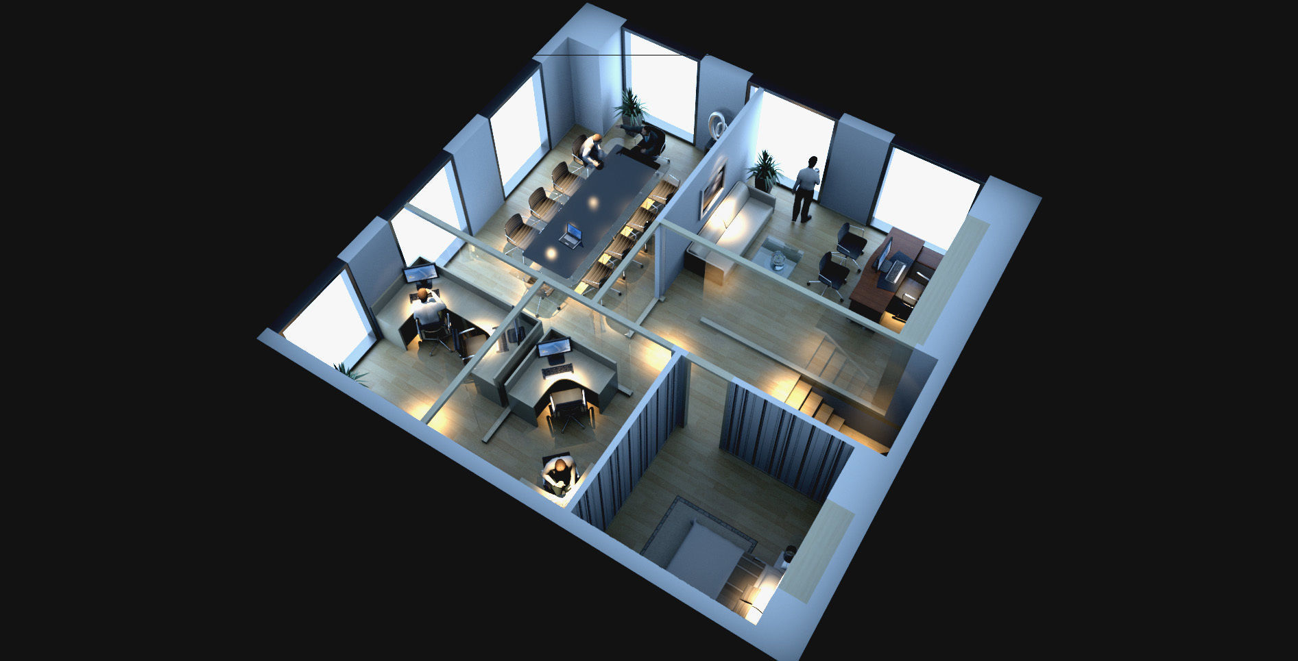 Simple style office plane stereoscopic space | 3D model