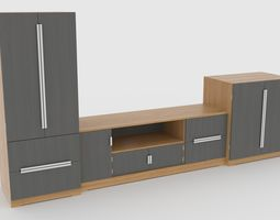 tv stand 58 game-ready 3d asset