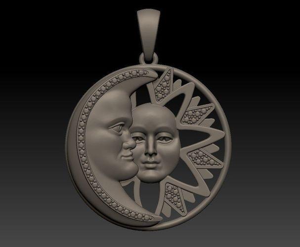 sun and moon - pendant 3d model stl 3dm 1