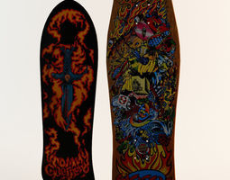 3d two classic skateboard decks