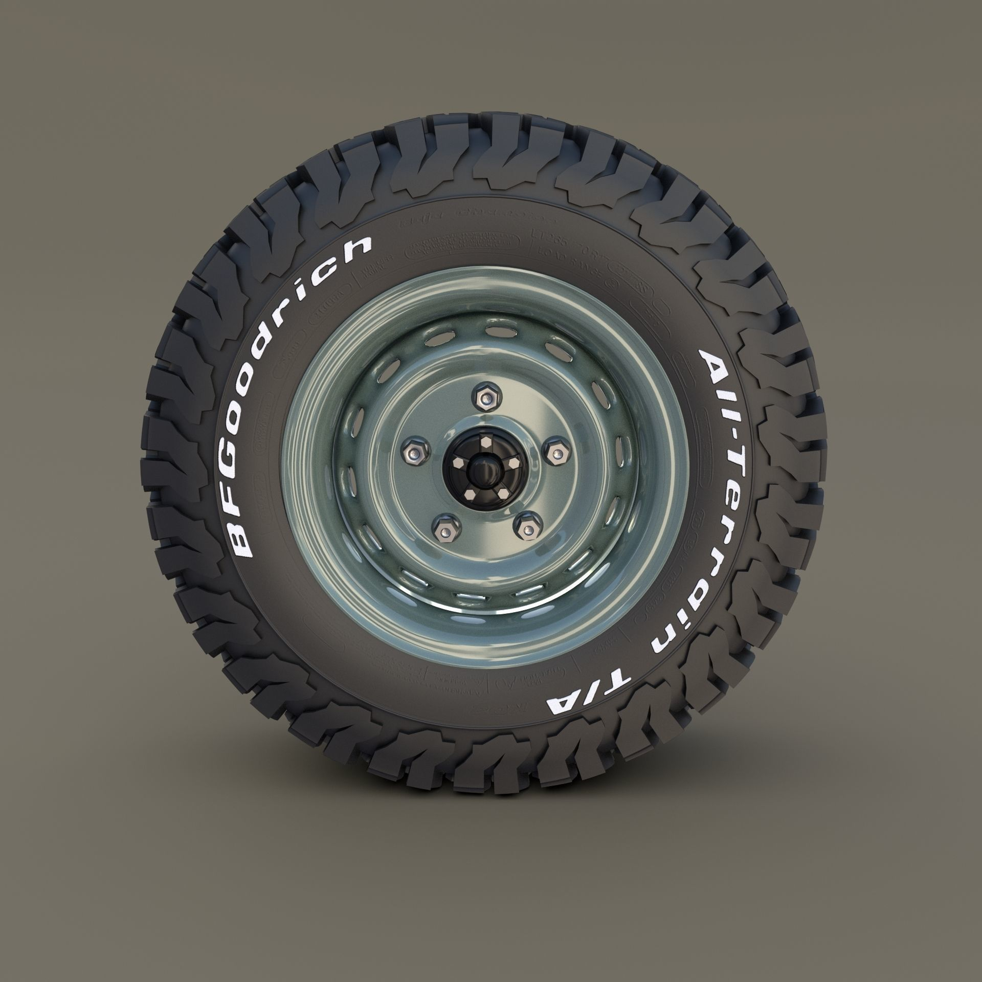 3D Model Offroad Steel Wheel AT