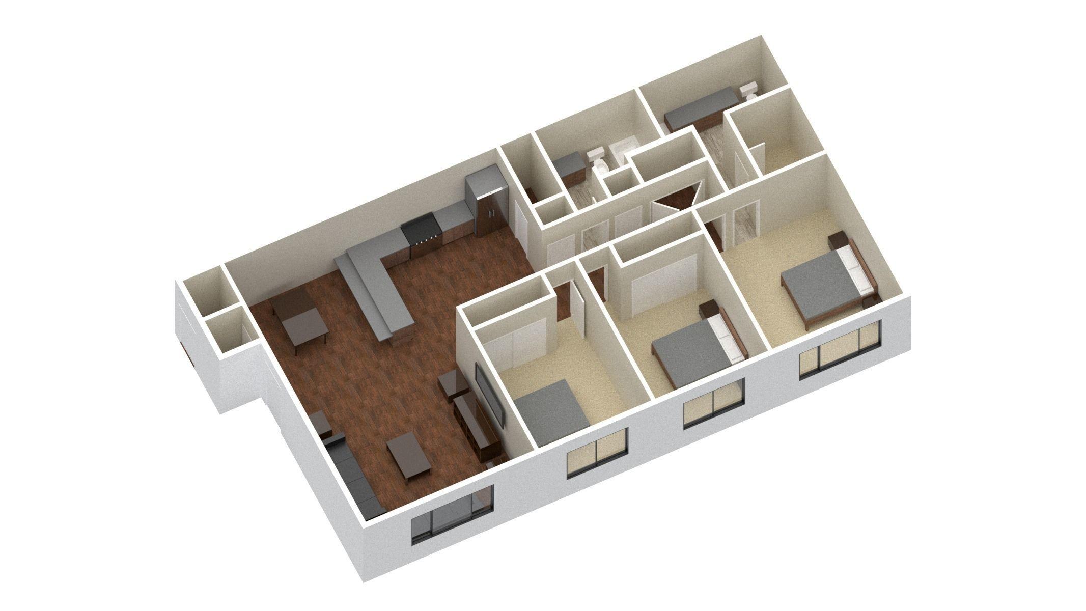 3 Bedroom 2 Bathroom Apartment Unit Model Modern Architectural 3d Model