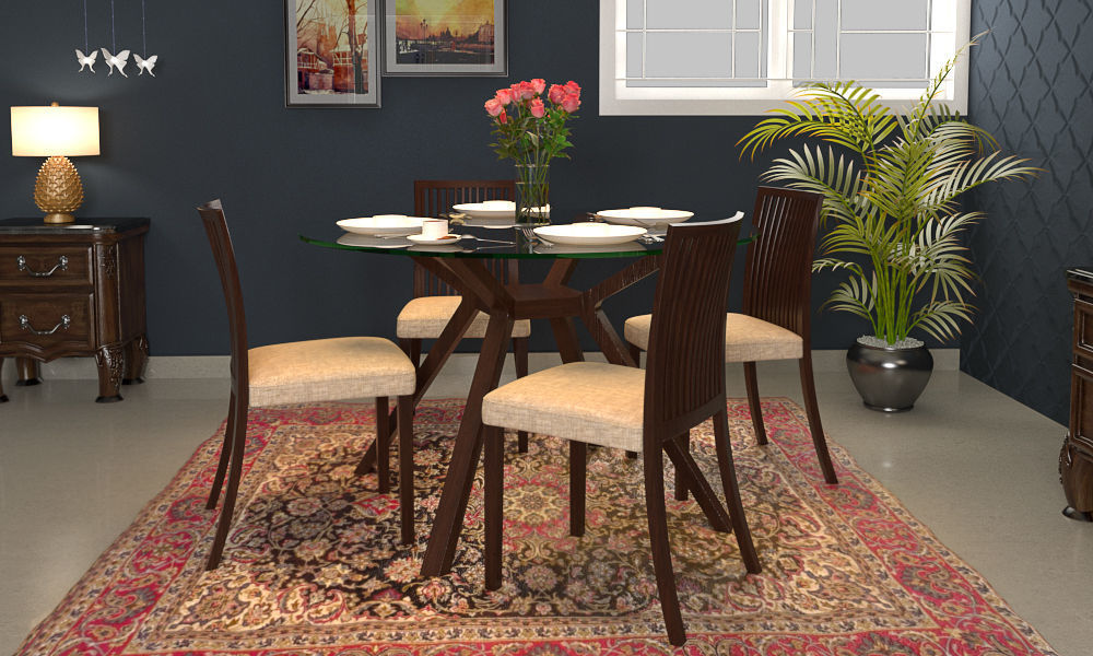 Wesley 4 Seater Round Glass Top Dining Table 3D Model