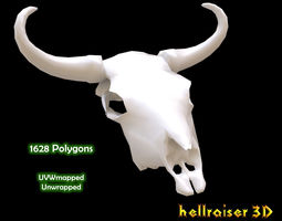 3D asset VR / AR ready Cow Skull