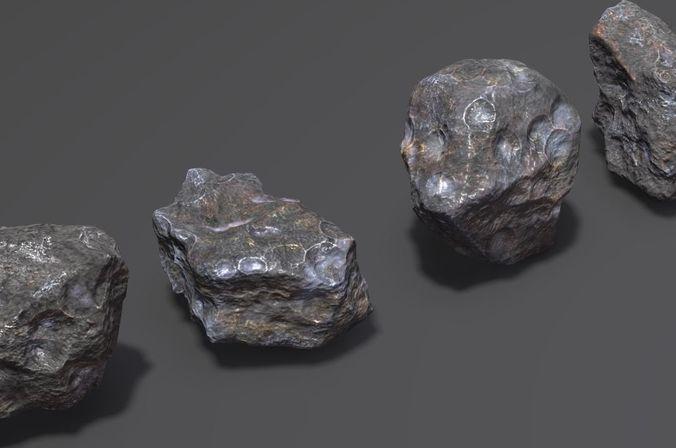 meteors rock stone 3d model max fbx ma mb stl 1