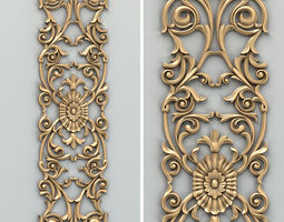 Carved decor vertical 014 3D model