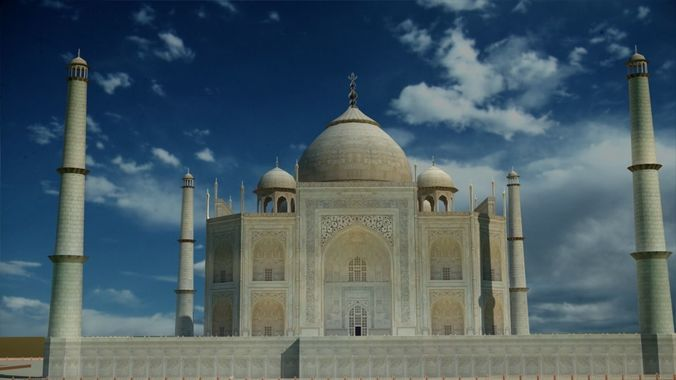 taj mahal low poly 6093 polygons full model 3d model max obj mtl tga 1