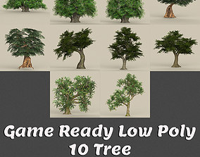 3D asset Game Ready 10 Tree Collection