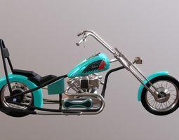 game-ready Indian Custom Chopper Motorbyke 3D Model