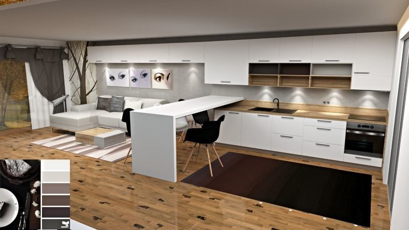 modern kitchen and living room colour scheme | 3D model