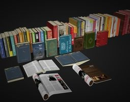 3D model books shelf