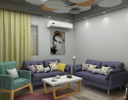 casual living room 3D model