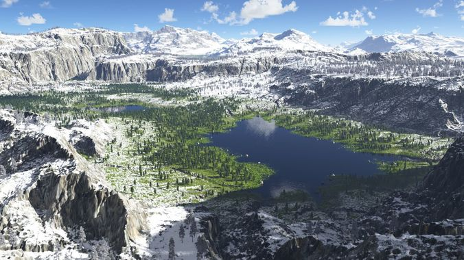 the lakes valley in terragen 3d model obj tgo 1