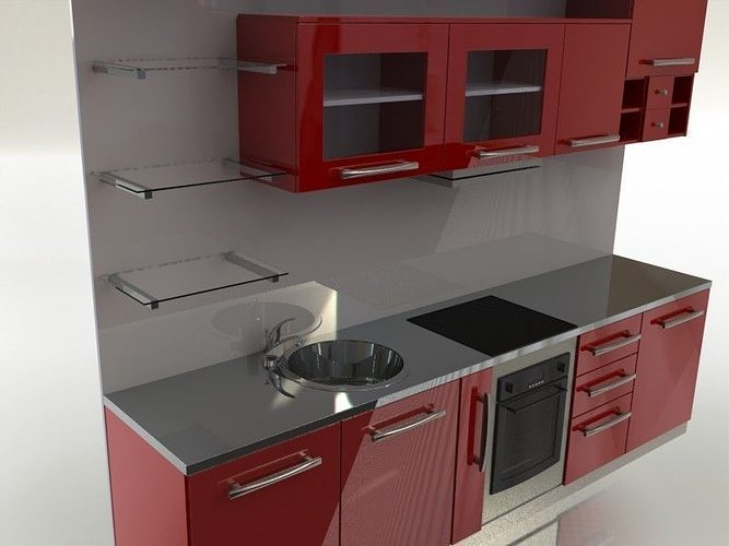 Kitchen 3D Model Best 3D Quadro Kitchen  Cgtrader Decorating Inspiration