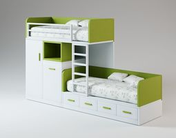 Green Two Story Bed 3D model