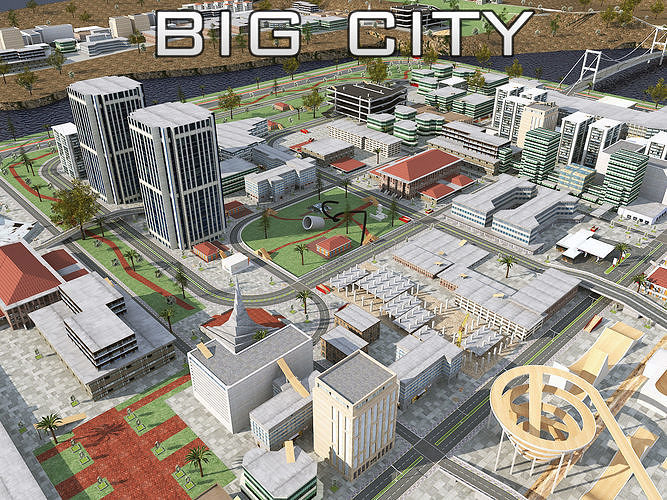 big city scene - low poly mega city roads building park area 3d model max fbx tga unitypackage prefab 1